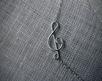 NECKLACE: Treble Clef, Dainty Sterling Chain, Musician, Handcrafted, Artisan Quality.
