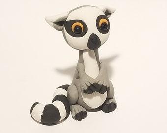Polymer clay lemur figurine
