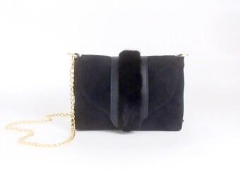 BLACK Suede and Mink Handbag ~ Black Fur Bag ~ Black Suede Purse