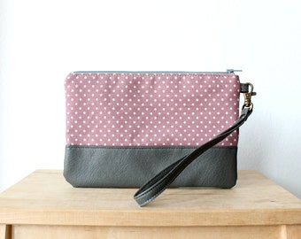 Wristlet Clutch Purse Polka dot Pink Vegan Faux leather Retro Wallet