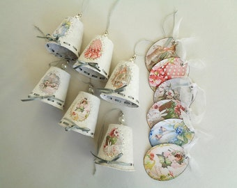 Set of 6 chimes and matching tags, Easter decoration.