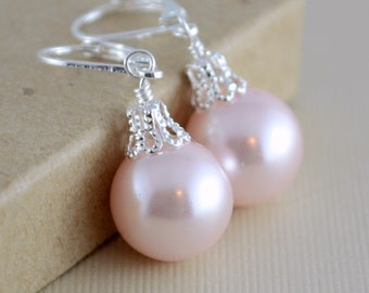 Blush Pink Earrings, Large Glass Pearls, Soft and Pretty, Christmas Balls, Silver Plated Lever Earwires, Fun Holiday Jewelry