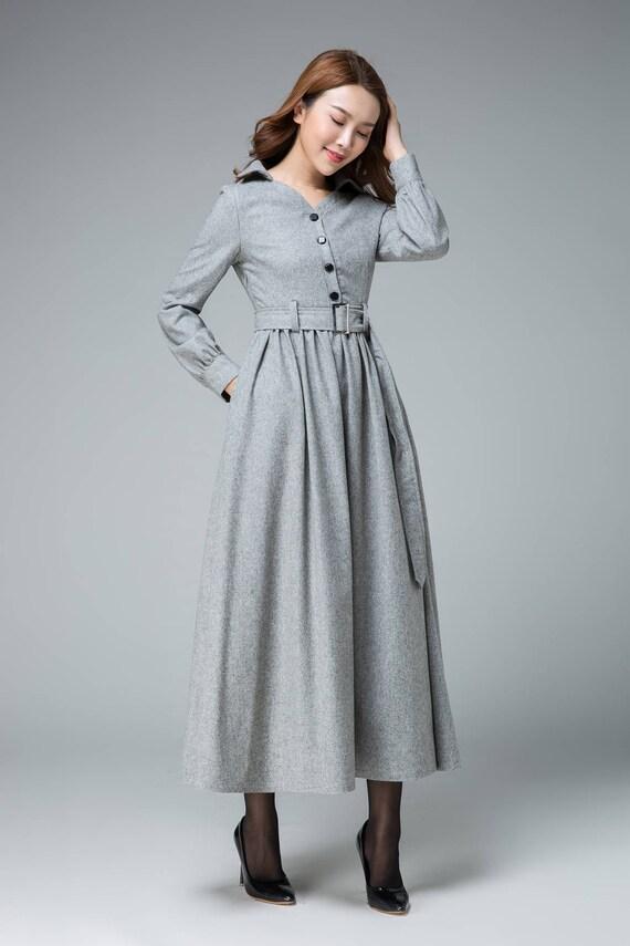 Robe chemise robe en laine robe dhiver robe maxi robe
