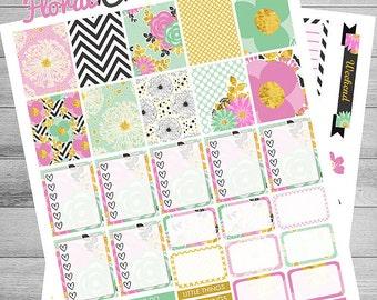 Floral Printable Planner Stickers, Black/Pink/Mint/Gold/Floral/Paris, use with Erin Condren, Printable Weekly kit, Spring Planner Stickers