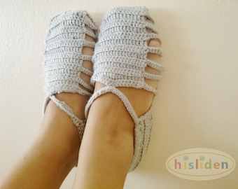 Gray Crochet Women's Slippers, Cutout Slippers, Gift for Girls, Gray Home Shoes, Handmade Shoes, Adult Slippers, Cozy Home Shoes, Footwear