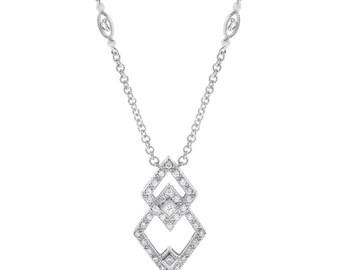 0,50 CT Naturdiamant Double Diamond Form Halskette aus massivem 18 k Weißgold