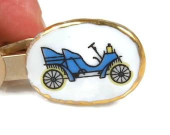 Enamel Tie Clip Blue Model T Car