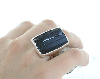 Silver Ring Black Raw Tourmaline. Natural Stone. Gemstone Ring. Black Tourmaline Jewel. Raw Stone Ring. Tourmaline silver ring.apsarasV ring