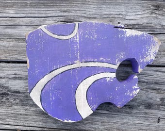Distressed Wooden Kansas State Wildcats logo