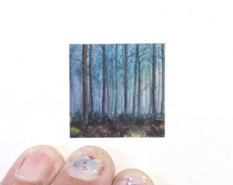 Print of miniature watercolor painting of foggy forest landscape.  giclee print of foggy landscape watercolor painting