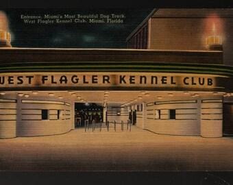 West Flagler Kennel Club – Miami, Florida – Vintage Technor Quality Views Postcard