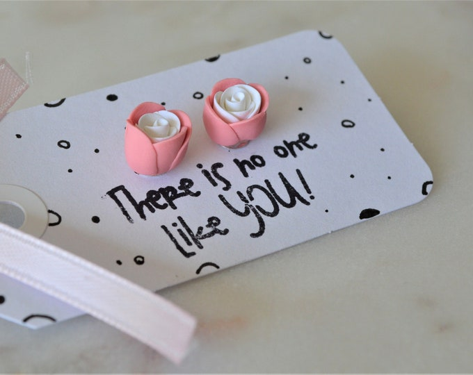 Handmade rose stud earrings, pink rose jewellery, spring jewellery, Mother's day gift, Handmade fimo roses, Polymer clay rose earrings,