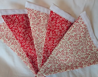 Red Floral Bunting