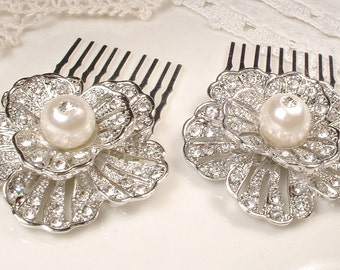 PAIR Pearl & Pave Rhinestone Art Deco 1920s Bridal Hair Combs, Small Silver Flower Hair Accessory GATSBY Wedding Vintage Inspired Hair Clips