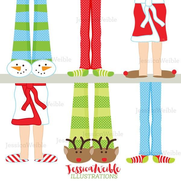 christmas pajama feet cute digital clipart christmas clip rh etsy com Pajama Day Pajama Clip Art
