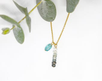 IROISE necklace - Gold, apatite and aquamarine - NORAH Collection (stone semi precious, blue, gold, silver, minimalist, starfish, Pearl)