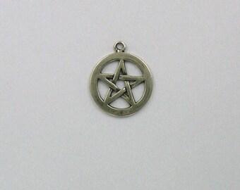 Sterling Silver 19mm Pentagram Charm