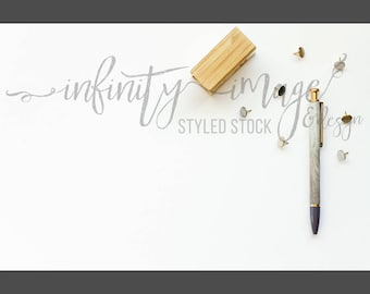 White Horizontal Styled Stock Product Photography Background w/Green & Brown Notebook, Journal, Pen, Stapler / High Res File #INF109SS