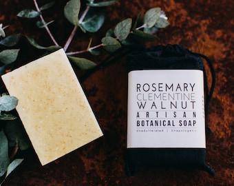 Rosemary Clementine Walnut Botanical Soap, Exfoliating Soap Bar, Gardeners Soap, scrubby, citrus soap, Mechanic Soap, grease cutting soap