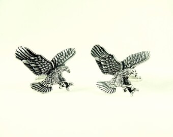Mens Cufflinks, Silver Eagles Traditional American Style Cufflinks Mens Accessories  Handmade