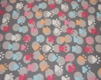 Dog Fleece Fabric Blizzard Fleece Gray with paws dog blanket paw prints low price fleece fabric free shipping available - SHIPS FAST F543