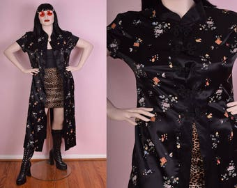 90s Oriental Style Short Sleeve Duster/ XL/ 1990s/ Mandarin Collar