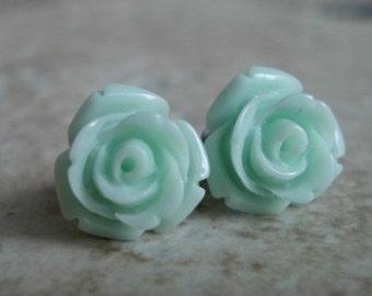 Mint Rose Earrings, Mint Green Flowers on Stainless Steel Posts, Post Earrings, Rose Jewelry, Stud Earrings