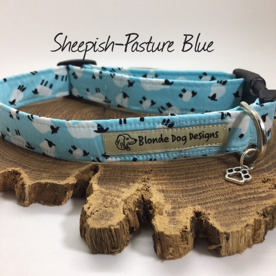 Cute Dog Collar, or, Cute Dog Lead, Sheepish Pasture Blue, Blue Dog Collar, Blue Dog Lead, Luxury Dog Collar, Luxury Dog Lead.