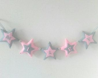 Girls name banner, star name banner, girls bunting, girls star decor, girls room, wall hanging, personalised baby gift, new baby gift, stars