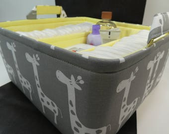 "EExLarge Diaper Caddy-14""W x13""Dx 7""H(Choose Colors)Two Dividers-Baby Gift-""White Giraffe on Grey"""
