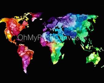 Watercolor World Map Digital Download