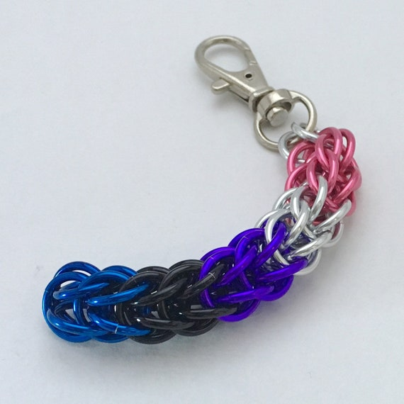 Genderfluid Pride chainmaille clip-on keychain / zipper pull / purse charm