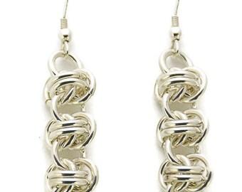 Sterling Silver Triple Barrel Weave Earrings