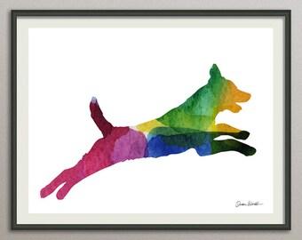 dog art print watercolor wall art decor poster painting  nursery wall art, living room wall art