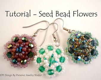 Seed Bead Tutorial, Earring Tutorial, Earring Pattern, Seed Bead Pattern, DIY Earrings, Easy Earring Tutorial, Flower Earring Pattern