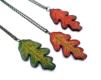 Rustic Oak Leaf Necklace, Leaf Jewelry, Fall Jewelry, Oak Leaf Pendant, Teacher Gift, Gift for Her, Gift for Wife, Fall Wedding Jewelry