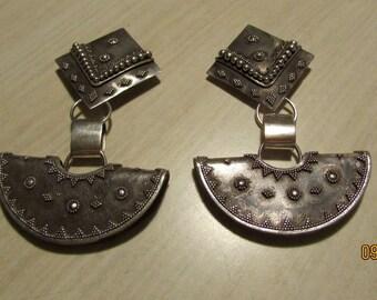 Large Sterling Silver Clip On Dangle Earrings