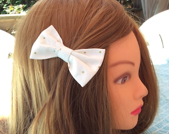 Fabric bow headband, baby headbands, wedding hair bow girl headband, newborn nylon headband, bow hair clip, white gold dots fabric headbands