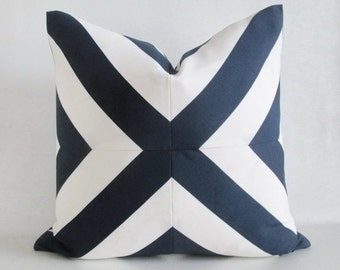 Pillow Cover Mitered X Navy Blue & White Stripes Indoor Outdoor