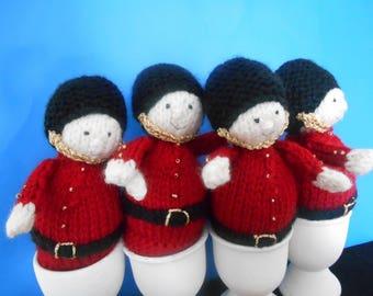 Set of 4 Boiled Egg Novelty SOLDIERS EGG COSY Cosies Egg Warmer Egg Holder Guardsmen Uniform Handmade Knitted Shelf Sitters Set of Four