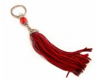 Red Tassel Keychain Keyring, Red Wood Beads, Boho Keychain, Tassel Accessories, Bohemian Keychain, Fringe Keychain