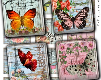 Shabby Chic French Butterfly 1 x1 Inch Digital Collage Sheet Square Scrabble Tiles Images for Pendants Jewelry Making Instant Download