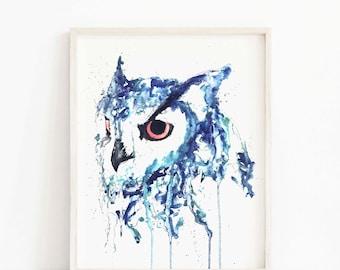 owl print, owl painting, owl art print, owl watercolor, owl gift, owl Art, animal art, animal gift, owl lover, owl gifts, owl artwork
