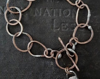 Handmade Copper Chain Bracelet with Quartz Dangle - Rustic Mixed Metals