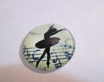 1 round 20 mm printed dancer glass cabochon