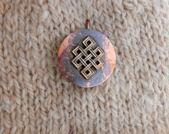 Shawl Pin copper with Bronze Tibetan Knot - NEW!