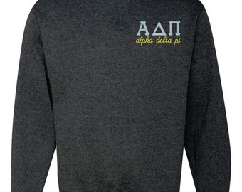 Alpha Delta Pi Quarter Zip, Alpha Delta Pi Pull Over, Greek sweatshirt, ADPi quarter zip, Alpha Delta Pi sweatshirt, sorority sweatshirt