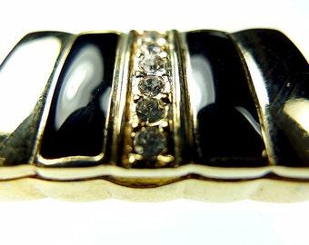 Rhinestone clasp, black enamel snap button closure