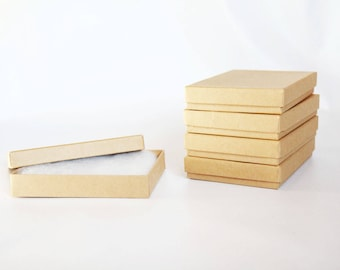 6- Kraft  Boxes filled with cotton 5 1/4 x 3 3/4  x 7/8  Works great for photography presentation and jewelry