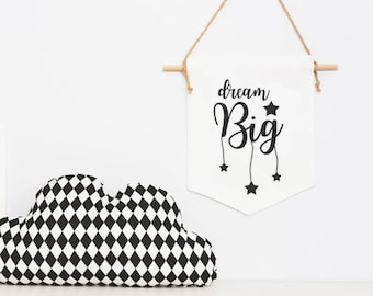 Dream big Wall banner flag, Hanging Nursery decor, natural, eco-friendly baby room linen wall hanging, New baby gift, baby wall flag